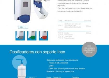 Dosificador cartucho 2,5 litros y soporte en inox.