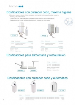 Dosificadores c/ cartucho desechable y sensor automático