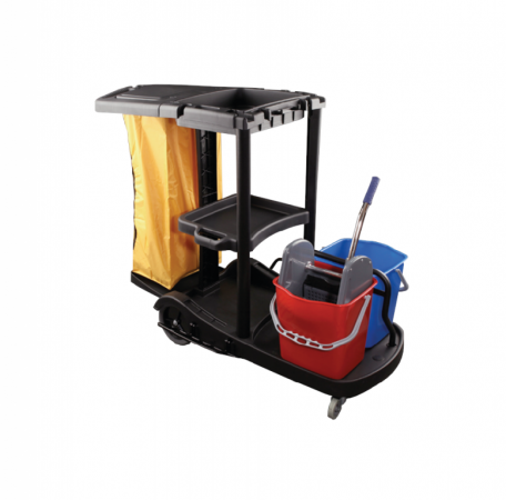 Complete plastic cleaning trolley in L (black)