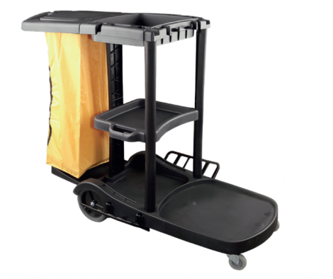 Plastic cleaning trolley in L ( black)