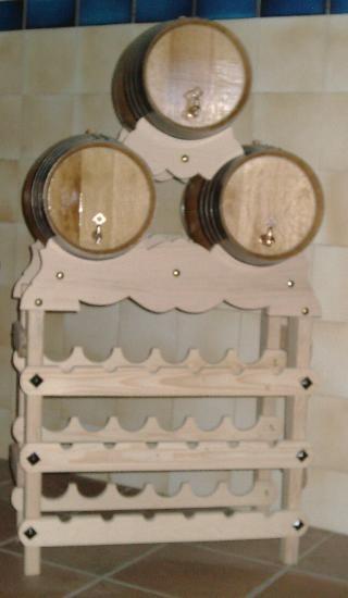 Conjunto de 3 barriles de 16 litros con botellero