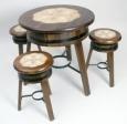 table bois diamétre 80 cm + 3 tabouret