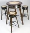 table haut bois diamétre 80 cm + 3 tabouret