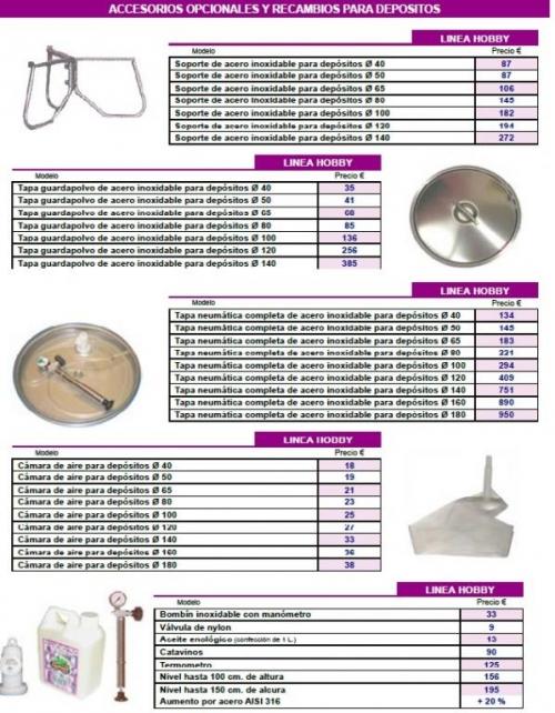 Recambios y accesorios de depositos de acero inoxidable