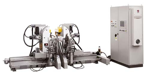 FOX-T Máquinas CNC de dos cabezas espigadora, retestadora, fresadora perforadora y escopleadora.