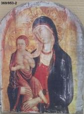 Icono 1/2 punto lamina sobre tabla, Bizantino