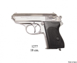 Replica Pistola semiautomática,niquel.