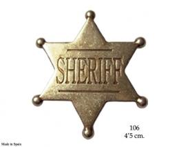 Placa de Sheriff de 6 puntas, de latón.