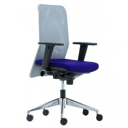 Silla ergonomica con respaldo en malla, asiento tapizado y brazos regulables en altura Md. Iris