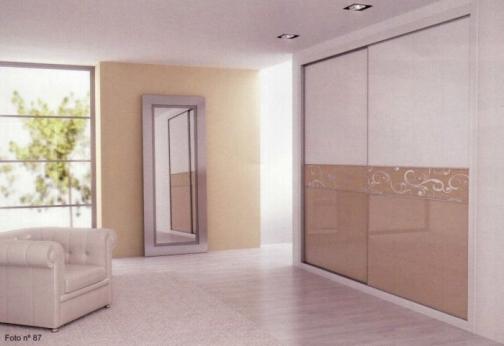 Armario de puertas correderas cristal lacado blanco y moca puertas garcisanz - Puertas correderas de cristal para armarios ...
