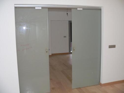 Puerta de cristal corredera doble satenlux puertas garcisanz - Puerta corredera doble ...