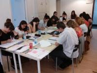 Trabajando duro en clase (Junio 2014)