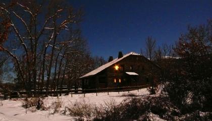 Una noche estrellada de invierno y nieve