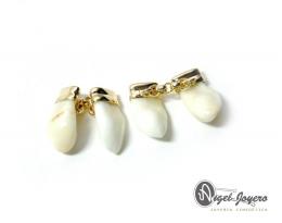 Gemelos de oro con perla de venado