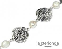 Pulsera ARAÑA de plata y perlas