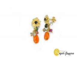 Pendientes flor y cuarzos