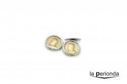 Gemelos de plata Vellón Romano