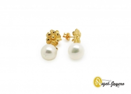 Pendientes Flor de Oro con Perla