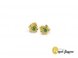 Pendientes de Oro Flor con Piedra preciosa