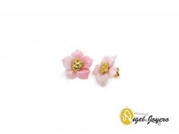 Pendientes de Oro con Flor de Madre perla rosa