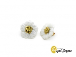 Pendientes de Oro con Flor de Nácar
