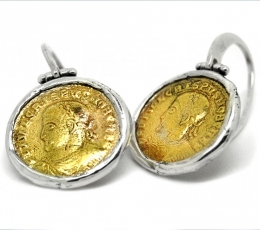 pendientes de plata de diseño con monedas romanas