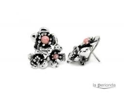 pendiente plata rosa omega artesanal