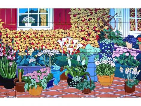 mural,ceramica,azulejo,pintado,mano,flores,patio