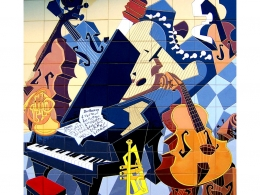 mural,ceramico,musica,piano,instrumentos,cuerda,seca