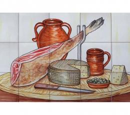 mural,ceramica,pintado,mano,bodegon