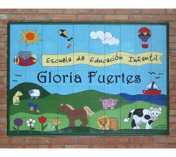 azulejo,mural,cerámica,rotulo,colegio