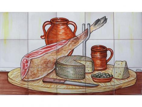 mural,ceramica,azulejo,bodegón,mosaico,jamón,queso