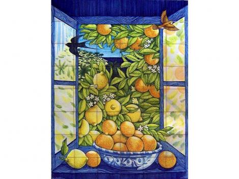 mural,ceramica,azulejo,bodegón,mosaico,ventana,azahar,naranjo