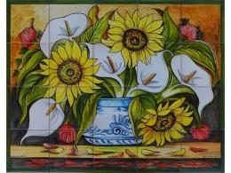 mural,ceramica,azulejo,bodegón,mosaico,girasoles,flores