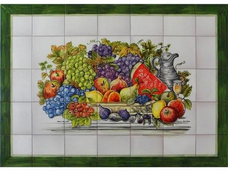 mural,ceramica,azulejo,bodegón,mosaico,frutas
