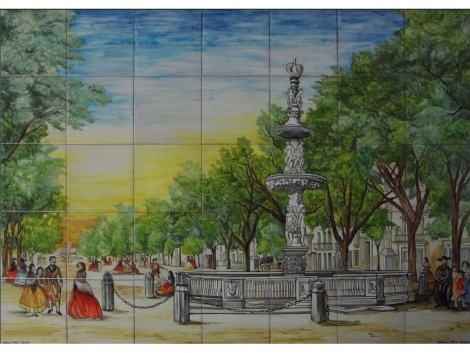 Mural cerámico decorativo de azulejos Parque de Málaga