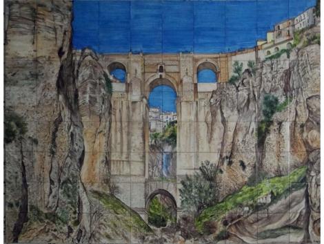 Mural cerámico decorativo de azulejos Tajo de Ronda