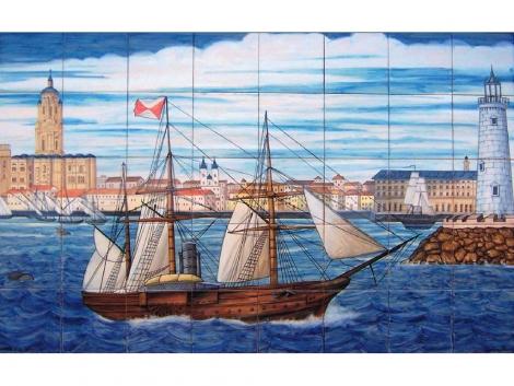 Mural cerámico decorativo de azulejos vista de Málaga