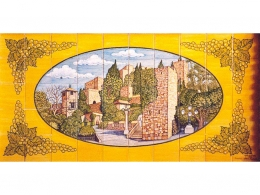 Mural cerámico decorativo de azulejos Alcazaba de Málaga