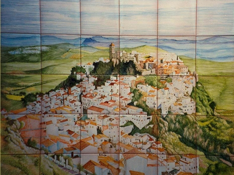 Mural cerámico decorativo de azulejos vista de Casares