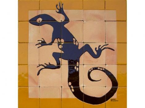 Mural cerámico decorativo de azulejos Lagarto