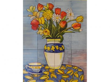 Mural cerámico decorativo jarrón con flores