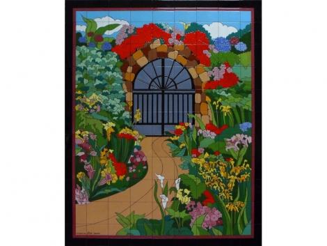 Mural cerámico decorativo jardín con flores