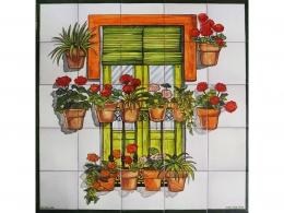 Mural cerámico decorativo balcón con macetas