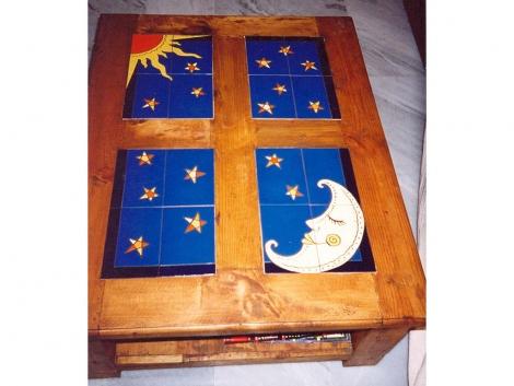 Mural cerámico decorativo para mesa luna y sol