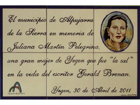 Mural azulejos de cerámica con retrato y texto