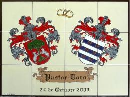Mural azulejos de cerámica con escudos heráldicos para boda