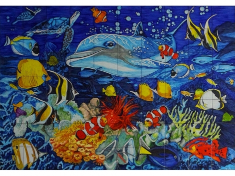 Mural azulejos de cerámica con fondo marino delfin