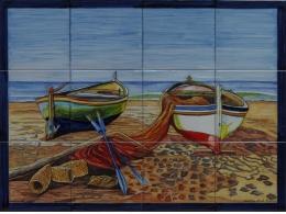 Mural azulejos de cerámica con barcas de pesca