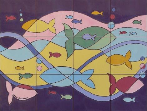 Mural azulejos de cerámica con peces